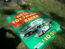 1991 HESS DEALER DISPLAY 4 FOOT X 5 FOOT TOY TRUCK AND RACER POSTER, EX WOW!