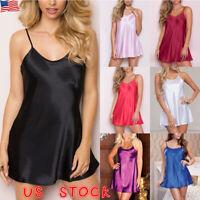 US Womens Satin Silk Nightdress Nightie Sleepwear Ladies Babydoll Strappy Dress
