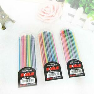 2019 2.0mm 2B Colored Pencil Lead 2mm Mechanical Clutch 12Col Refill E5N9