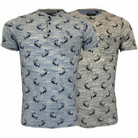 Mens T Shirt Grandad Neck Brave Soul Marl Jersey Short Sleeved Dolphin Print New