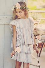LoveShackFancy Girls Flutter Sleeve Top & Skirt Cobblestone Size 5-6Y Lavender