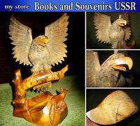 Wood carving, figurine of an eagle and a Fox of the USSR, Original 1960's