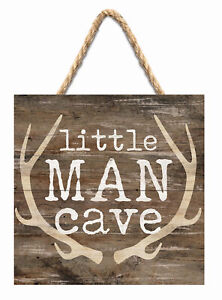 Little Man Cave Antlers Rustic Brown 7 x 7 Inch Wood Pallet Wall Hanging Sign