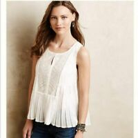 4559 New Hd In Paris Anthropologie Embroidered Sleeveless Blouse Top Small S