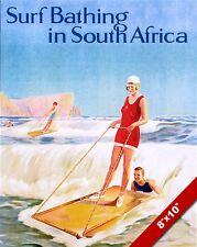 VINTAGE WOMAN SURFING SOUTH AFRICA VACATION TRAVEL AD POSTER ART CANVAS PRINT