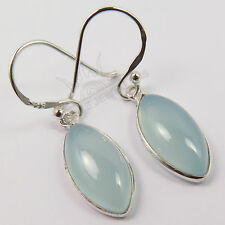Natural AQUA CHALCEDONY Gemstones Charming Earrings 925 Solid Sterling Silver