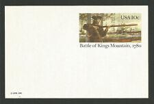 Battles of Kings Mountain U.S.A. entier postal neuf 1980 carte postale/T7878