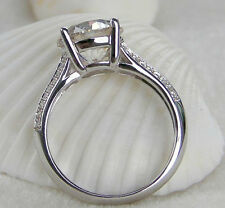 3CT Gorgeous Genuine Solid 14K White Gold Women Promise Wedding Anniversary Ring
