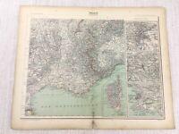 1898 Französisch Map Of Frankreich Lyon St Etienne Korsika 19th Century Antik