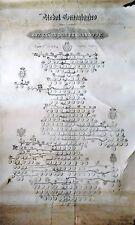 LITOGRAFIA, ARBOL GENEALOGICO, REYES DE ESPAÑA C. C. MARQ Y COND. S. DE BCN 1833