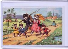 VINTAGE FRENCH DRESSED CATS FAMILY ON A WALK STROLL POSTCARD M.D. PARIS