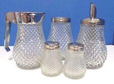 Stainless Syrup,Salt,Pepper Sugar,Powder Dispenser Diamond Cut Glass Hong Kong