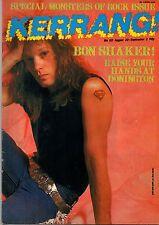 Jon Bon Jovi on Kerrang Magazine Cover 1987  No:153    Metallica     W.A.S.P.