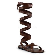 Funtasma Roman-12 Men's Wide Band Calf Wrap Flat Roman Sandals L Brown PU