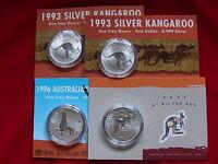 AUSTRALIA. 1993 x2, 1996, 2001  $1 Kangaroo -  1oz  Silver Coins...  BU in Cards