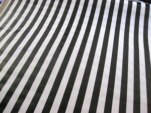BLACK WHITE CABANA RAILROAD JAIL REF STRIPE DINE OILCLOTH VINYL TABLECLOTH 48x84