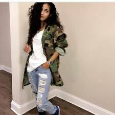 Women fashion camouflage print club party casual cool long coat jacket out wear