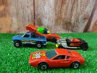 X 4 HOT WHEELS  die cast model racing cars vintage various cars ferrari lot E2
