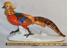 Rare Antique c 1920 Zeh, Scherzer & Co Golden Pheasant Porcelain Statue Figurine