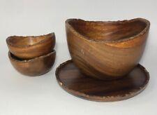 Pottery Barn Acacia Rim Wood Platter Bowl Serving Set of 4