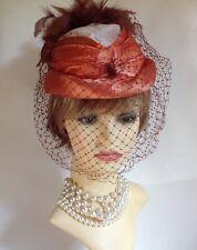 Vintage 1940s Satin Burnt Orange Ivory Brown Capulet Hat Face Net Rear Plumage