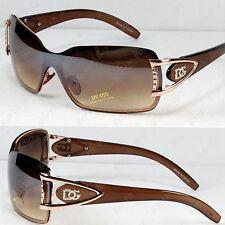 DG Eyewear Womens Mens Shield Designer Sunglasses Brown Fashion Retro Wrap NEW