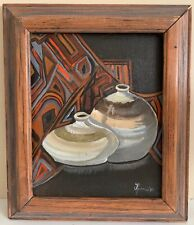 Vintage 80s Abstract Still Life Vases Painting Wall Hanging Modern Art Signed