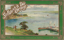 River Shannon at Foynes ST PATRICK'S DAY Greetings ©1910 John Winsch Postcard