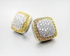 EXQUISITE Square Gold Dots Texture Silver Pave CZ Crystals Cable Earrings 508E