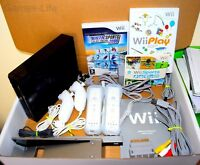 Wii Console Nintendo Black 2 Player 2 Remotes 2 Nunchucks Wii Sports etc GRADE B