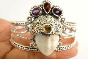Carved Goddess Amethyst Garnet Citrine 925 Sterling Silver Cuff Bangle Bracelet