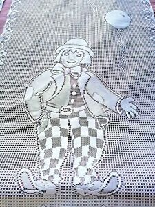 """2 Identical French Net CURTAIN Panels CLOWNS and BALLOONS White 23""""W x 62"""" Drop"""