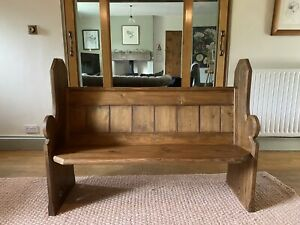 VICTORIAN Wooden PINE Church PEW, BENCH, Antique Old Settle, Seat, Kitchen, Hall