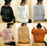 Women's Ladies Studded Rock & Roll Fine Knitted Oversized Jumper Sweatshirt Top