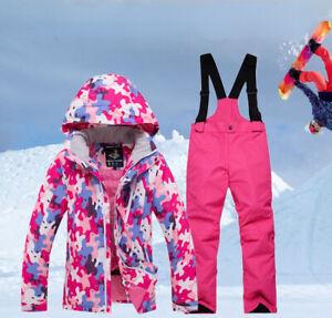 Boy/Girls Ski Suit Waterproof Pants+Jacket Winter Sports Thickened Kids Ski Suit