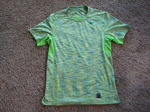 Nike Pro Dri-Fit Green/Yellow Polyester Blend Active Pullover Top Women's Size L