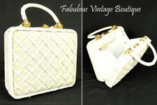 Vtg 60s MAGID White Beaded Embellished Woven Box Purse Handbag Double Handle