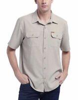 NEW Orvis Men's Short Sleeve Woven Tech Shirt  , Khaki Neutral Size Medium