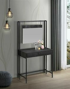Zahra Urban Bedroom Dressing Vanity Makeup Table Mirror & Drawer Black