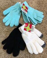 NWT Girls Black Light Blue White Joe Boxer Texting Gloves 4 Pair
