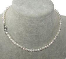 Collana girocollo in perle vere colore bianco 6mm ,Naturale,da donna