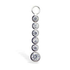 TummyToys Silver Navel Ring Charm with 6 Round CZs in Brilliant White [TT-78082]