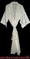 Thai Silk Kimono / Robe / Dressing Gown / Night Dress / Cream / Floral Pattern