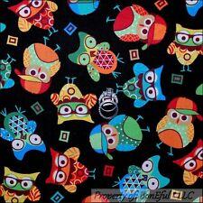BonEful Fabric FQ Cotton Quilt Black Rainbow Color*ful OWL Bird Kid School Retro
