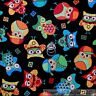 BonEful Fabric FQ Cotton Quilt Black Rainbow Red Blue OWL Bird S Kid Retro Block