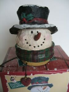 Christmas Rustic Snowman Candle Topper for Large Yankee Candle Jars w/ Box