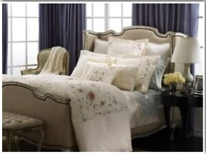 NIP $142 Ralph Lauren QUEEN Flat Sheet English Isles Pale Blue Striped Cotton