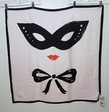 New Women's KATE SPADE Scarf Masquerade Silk Square Black Pink NWT New York NY
