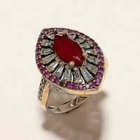 6.30 Gm Ruby & C Z Ring 8.5'' 925 Solid Sterling Silver Two Tone Ring K-1819