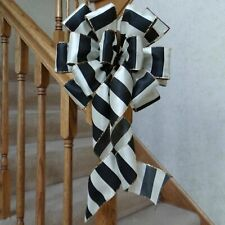 """10"""" Wide Black & Ivory Striped Bow For Christmas, Halloween, Wedding Decorations"""